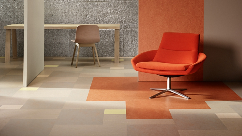 Modular linoleumboden sand orange