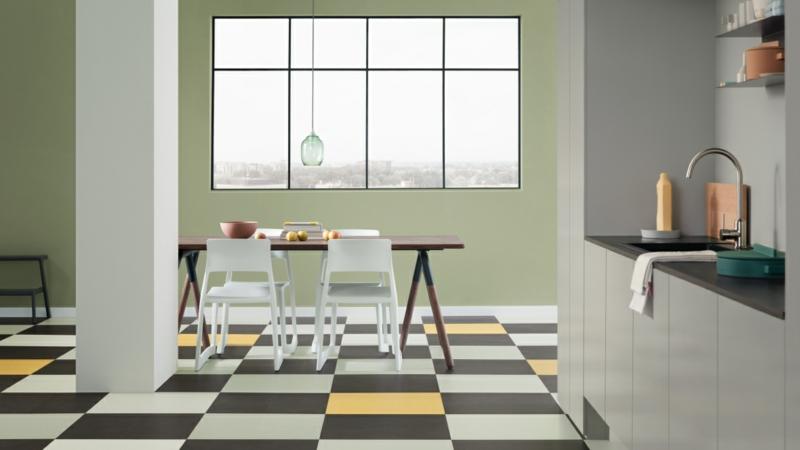 linoleumboden schwarz gelb