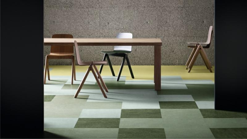 linoleumboden in grün als geometrisches Muster