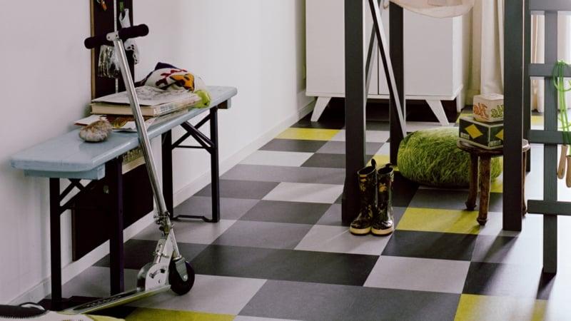 linoleumboden grau gruen kinderbereich
