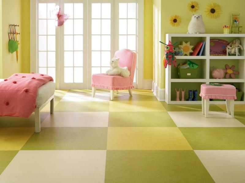 linoleumboden kinderzimmer gruen