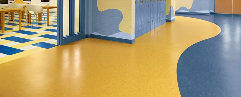 linoleumboden blau gelb
