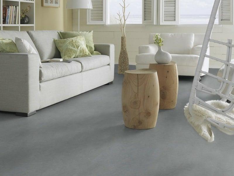 linoleumboden in grau und sofa