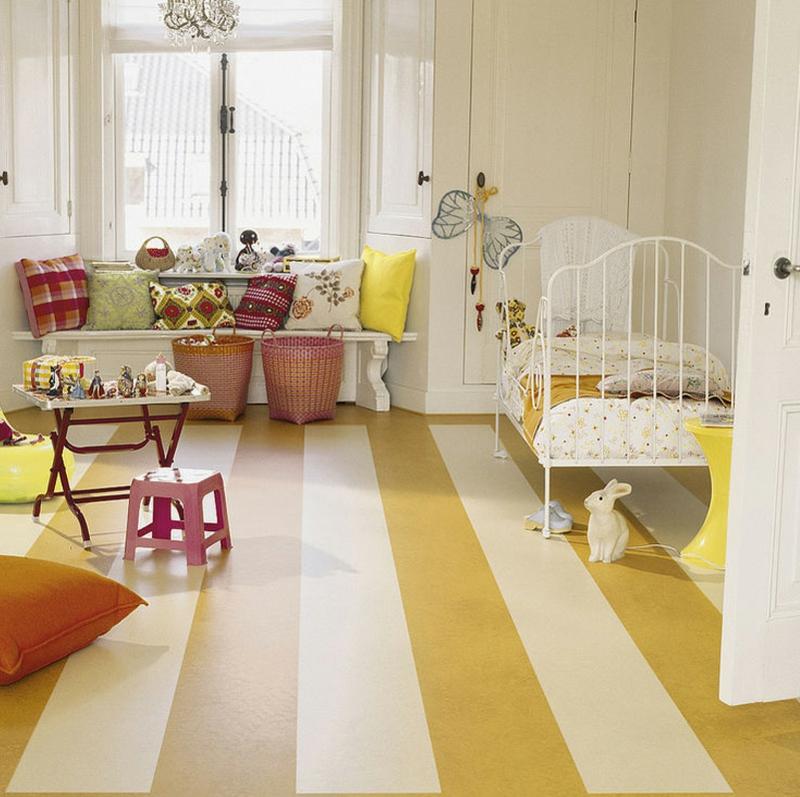 linoleumboden kinderzimmer gelb