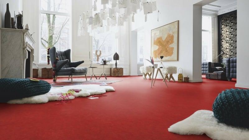 linoleumboden in knallrot