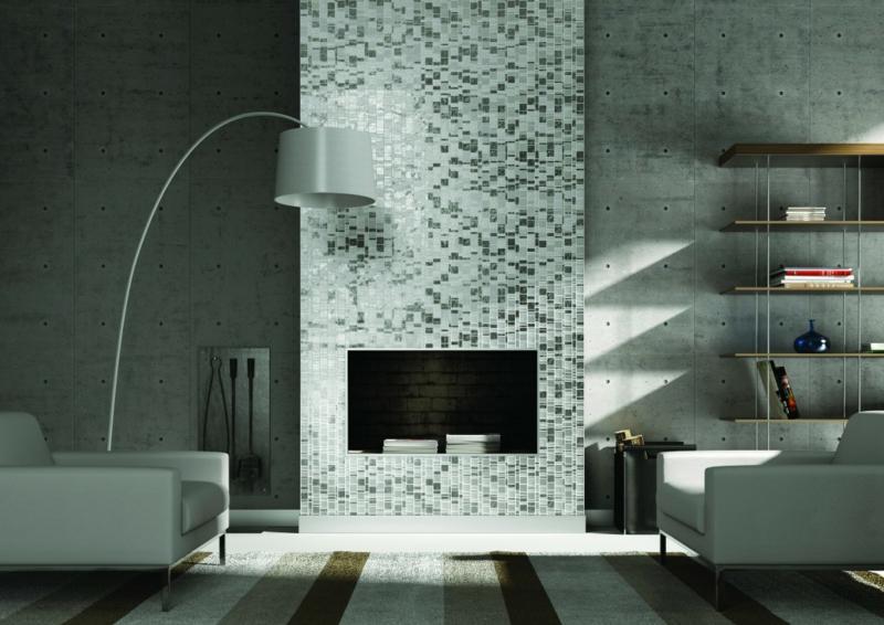 glasmosaik moderne Akzente im wohnzimmer