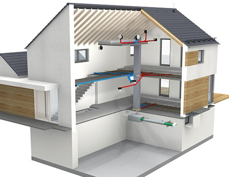 Interieur eines Energiesparhauses