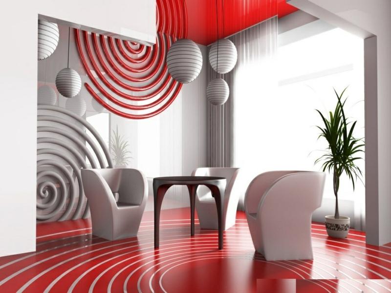 Inneneinrichtung fürs Esszimmer in rot und weiß