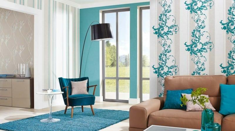 moderne blaue Tapeten