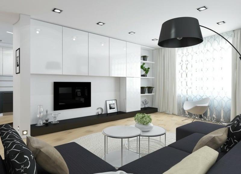 Wohnzimmergestaltung Weiss und Schwarz