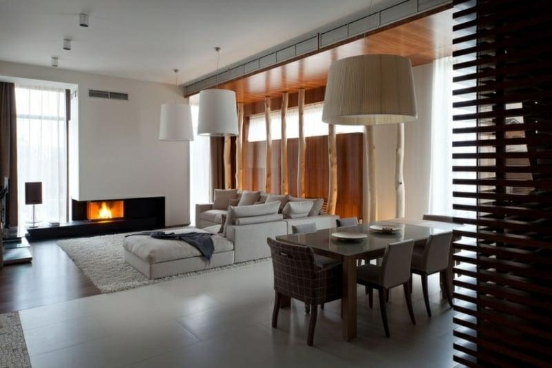 Wohnzimmergestaltung Essbereich und Kamin