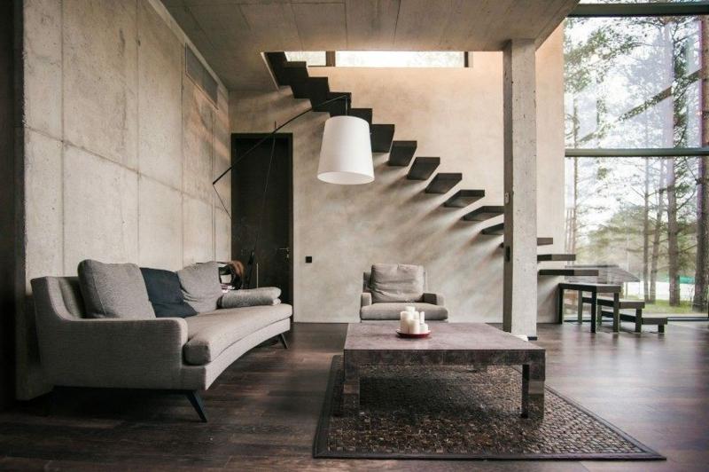 Wohnzimmergestaltung originelle Treppe