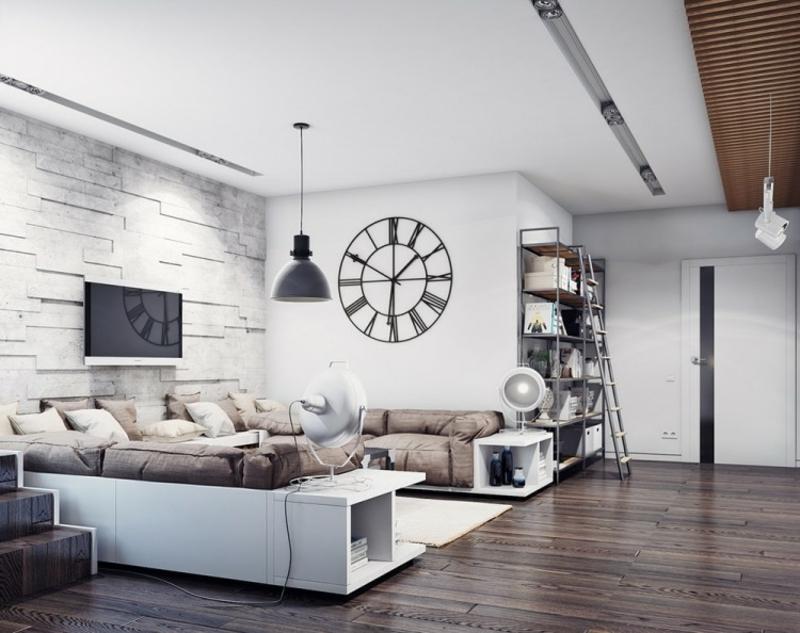 Wohnzimmer Mit Origineller Uhr