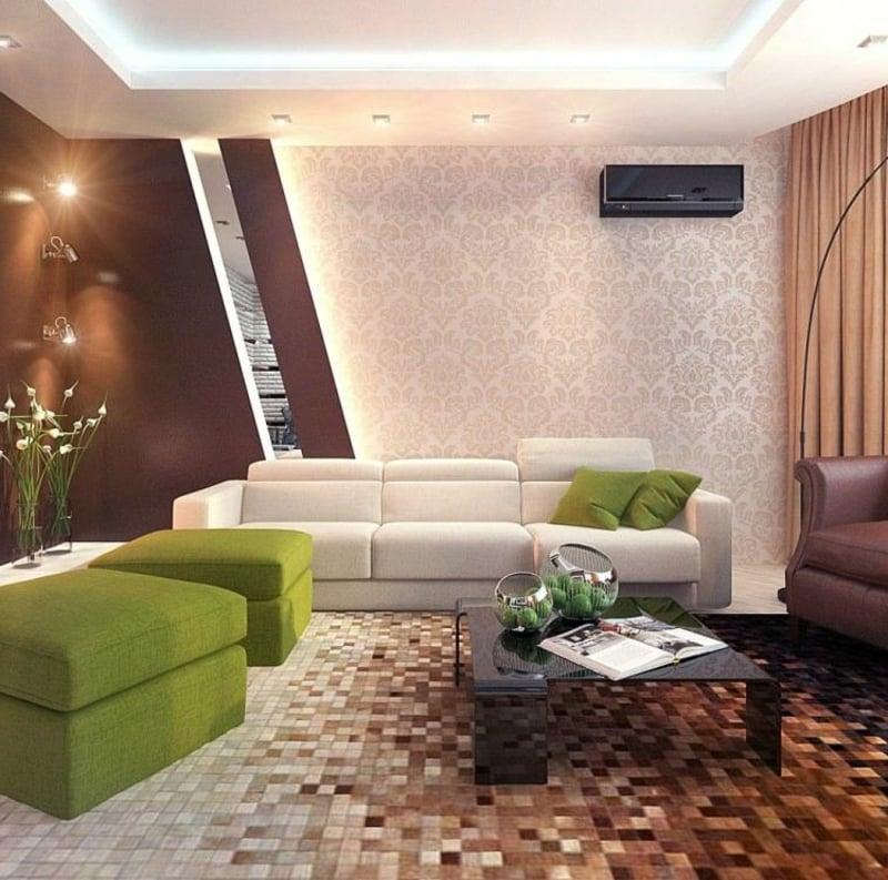 grüne Akzente Wohnzimmergestaltung