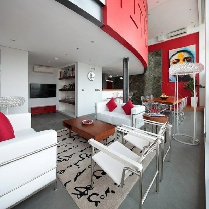 Wohnzimmer Geometrische Motive Wohnzimmergestaltung Originelle Treppe