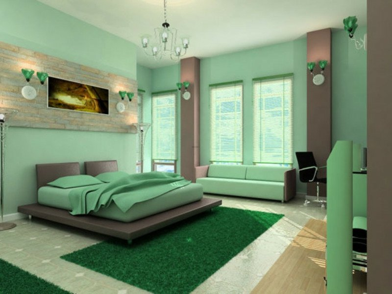 ein großes bild für ein grünes schalfzimmer