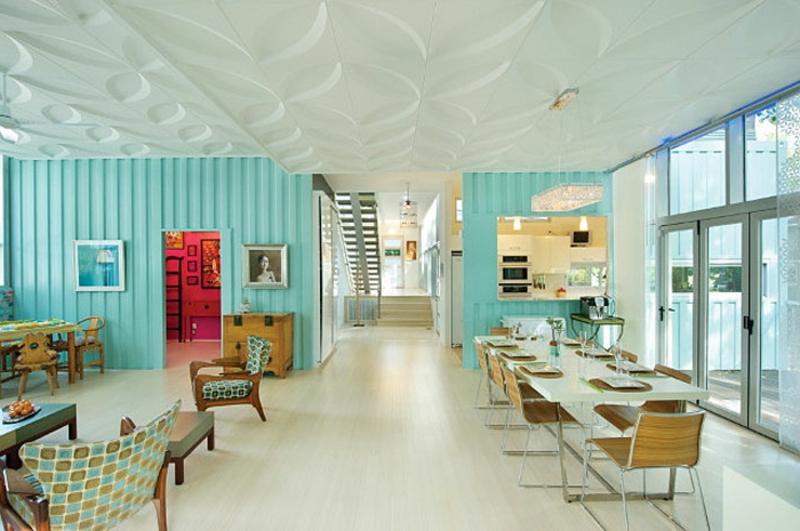 containerhaus Modernes Architektenhaus wohnzimmer