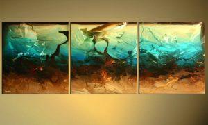 Idee für große Bilder fürs Wohnzimmer aus drei kleineren