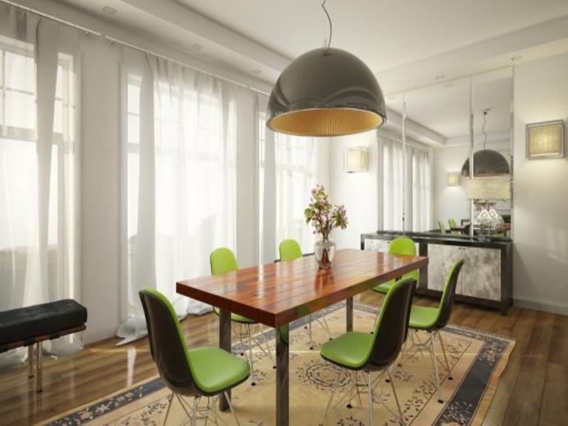 Marvelous Esszimmer Einrichten Nach Feng Shui #11: Retroesszimmer Mit Grünen Stühlen Nach Feng Shui