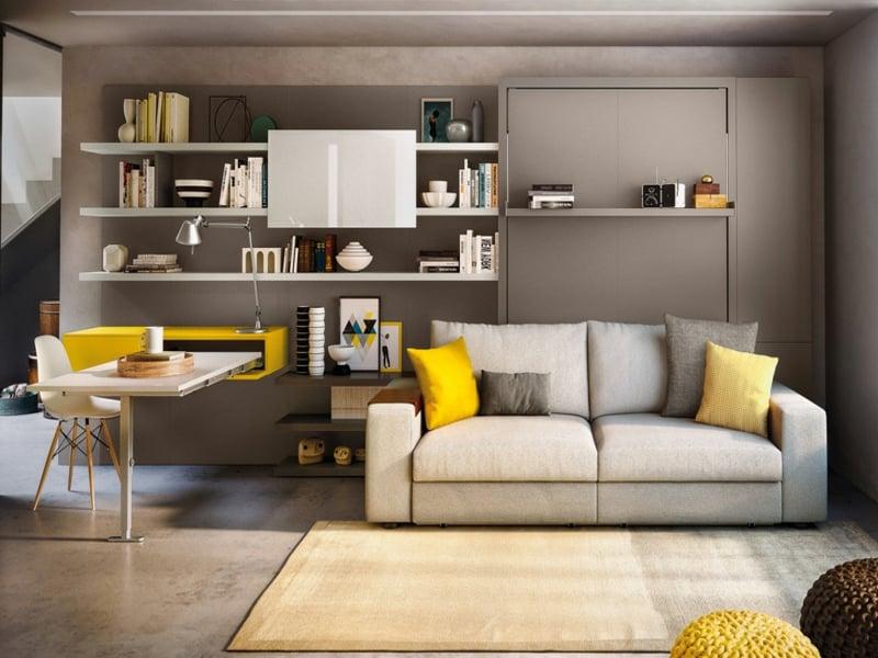 exotik mit einem büro in gelb