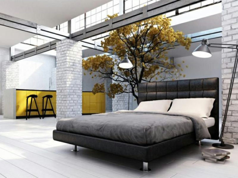 gelbe dekoration im schlafzimmer