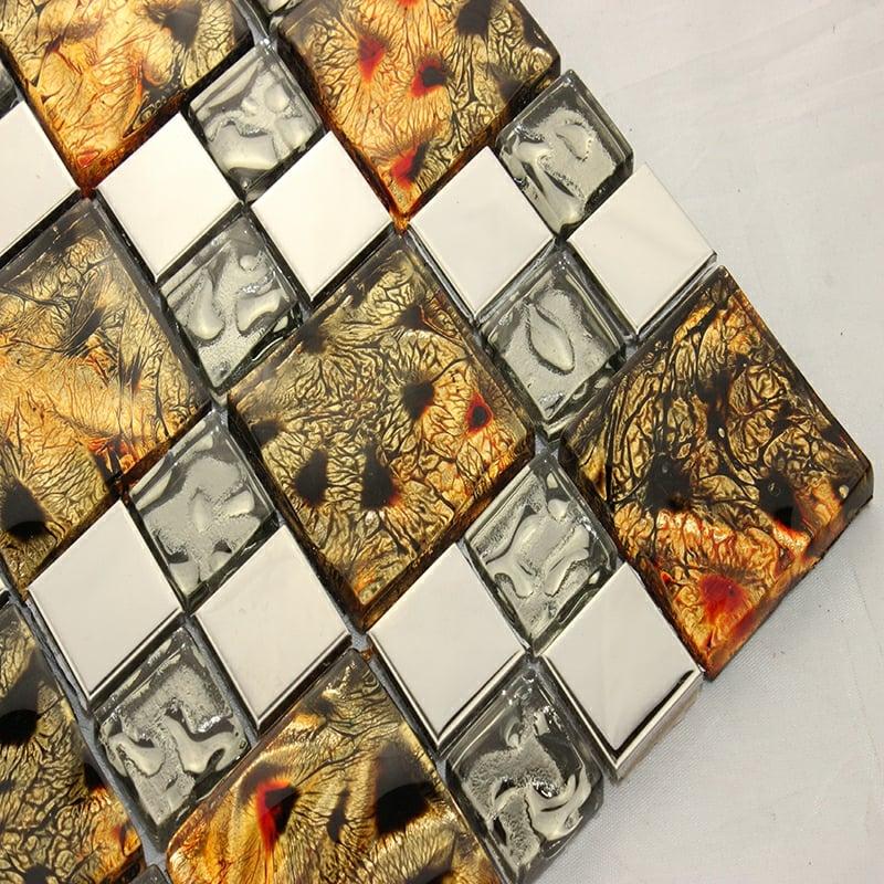 glasmosaik braun kupfer grau