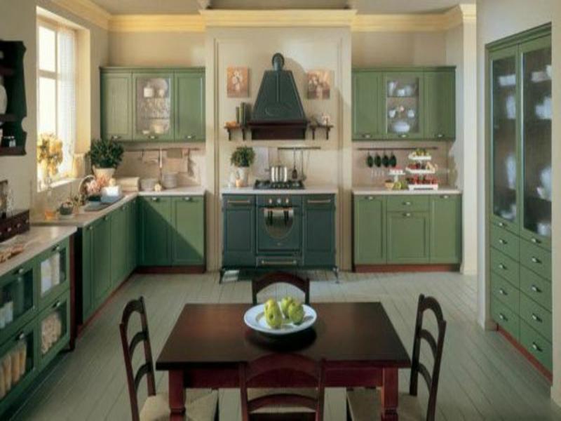 wohnideen für die provence küche in grün
