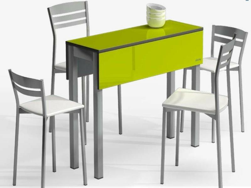 schmaler grüner küchentisch