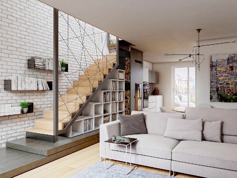 moderne reppe und wohnzimmer
