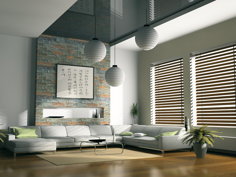 Holzjalousien für schickes weißes Interior