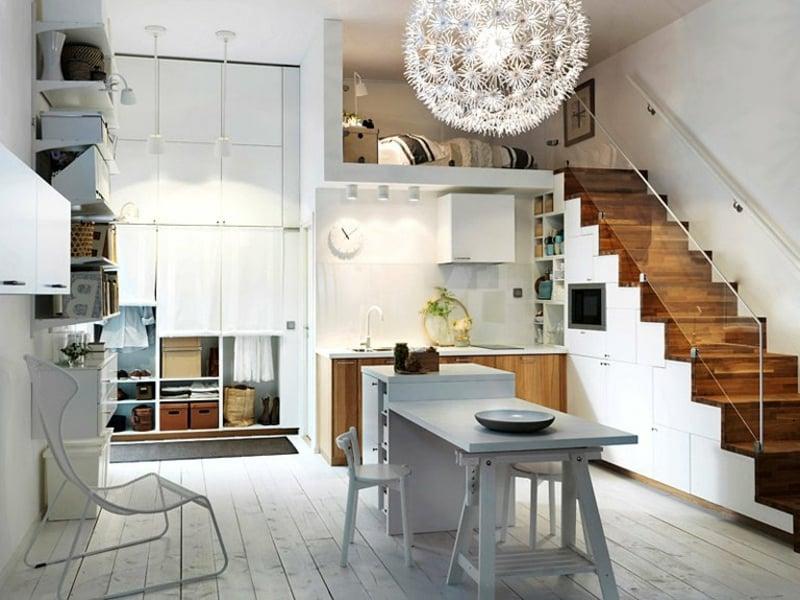 moderne küche uter der treppe