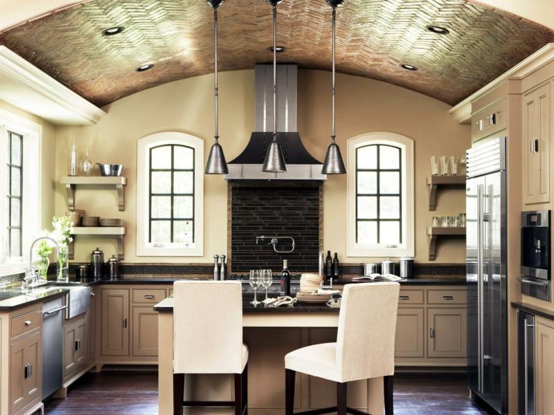 wohnideen für beleuchtung in der provence küche