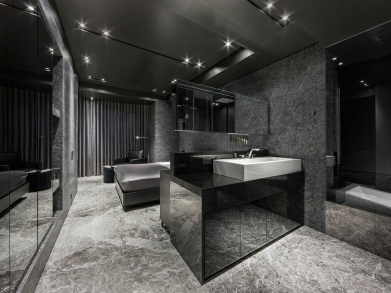 luxus badezimmer in dunklen farben
