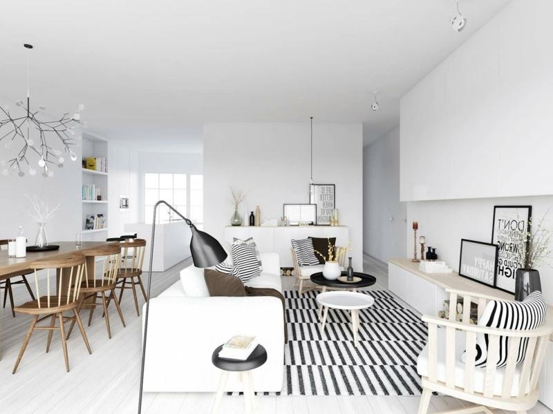 moderne Wandfarben und Teppich mit schwarzen Steifen