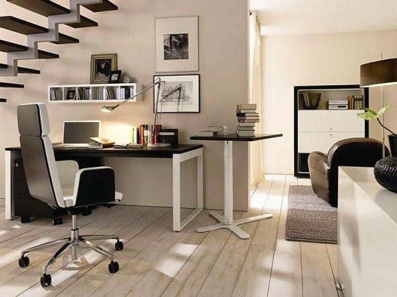 stilvolles office unter der treppe