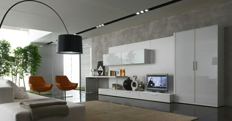 Wohnzimmergestaltung originelle Lampe