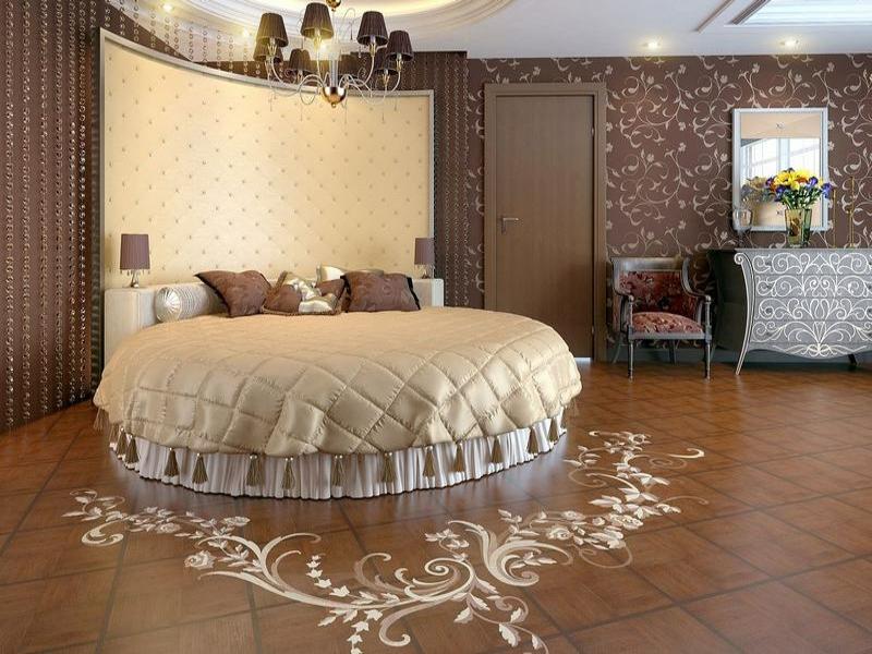 parkettdekorationim schlafzimmer