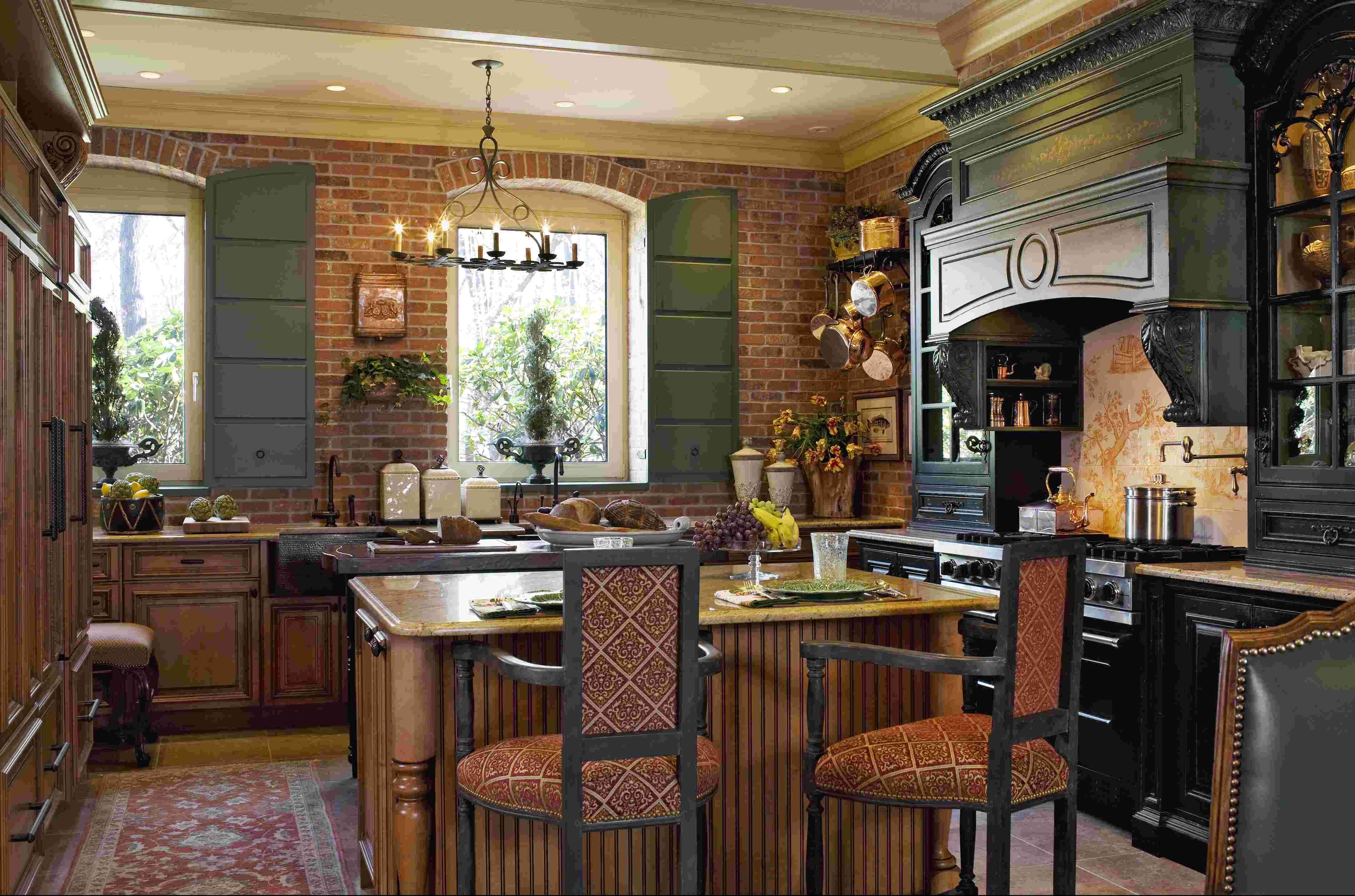 wohnideen für ziegel in der provence küche