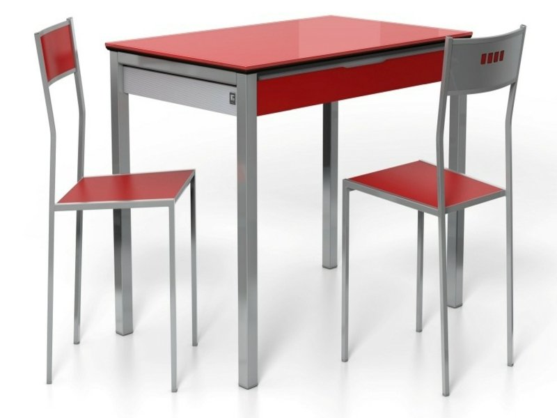 roter küchen mit roten stühlen