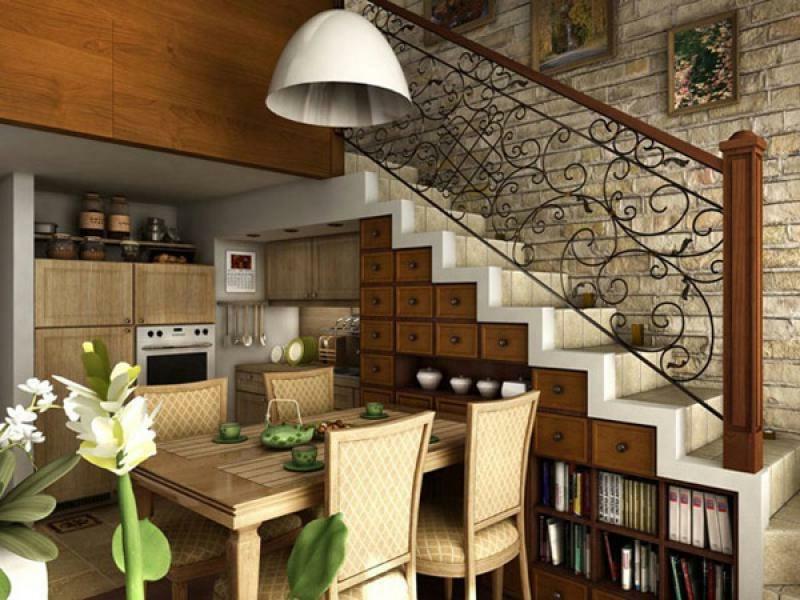 kleine holzküche unter der treppe