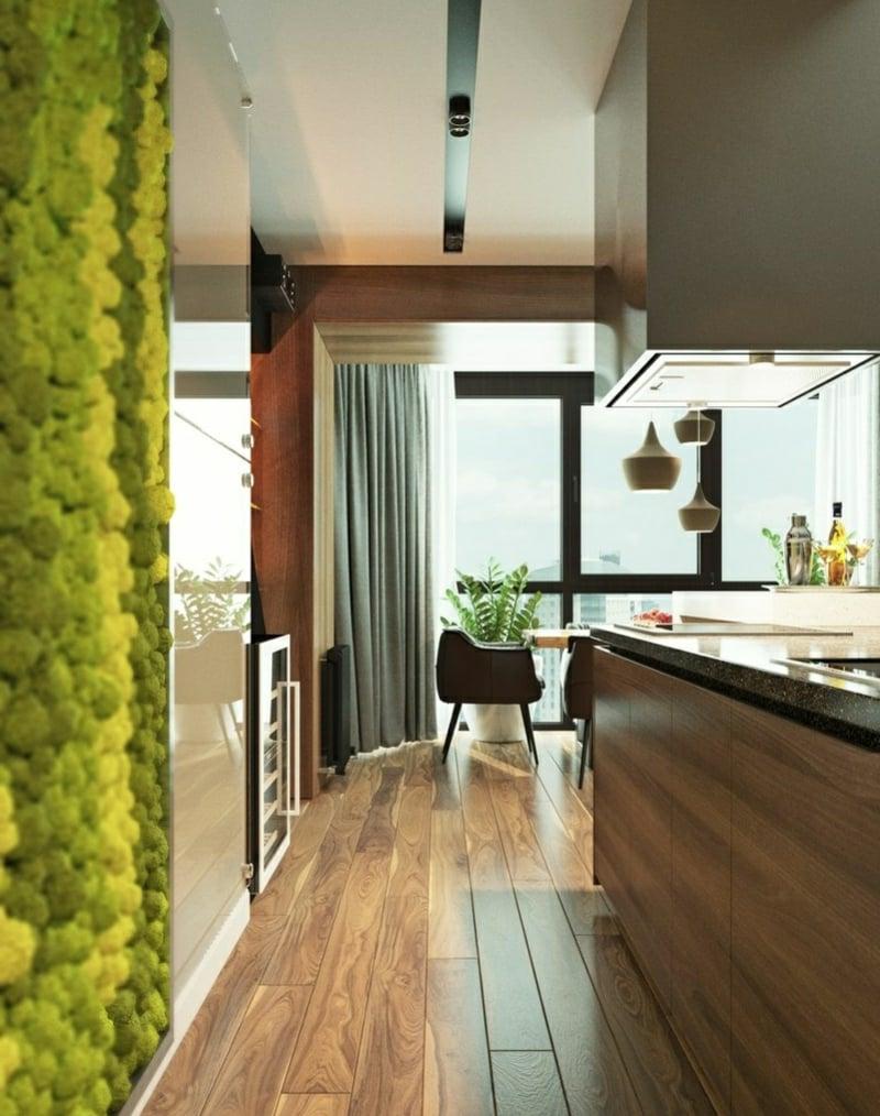 vertikaler garten Einrichtungsbeispiele Wohnzimmer Holzmöbel nachhaltige Inneneinrichtung Ideen