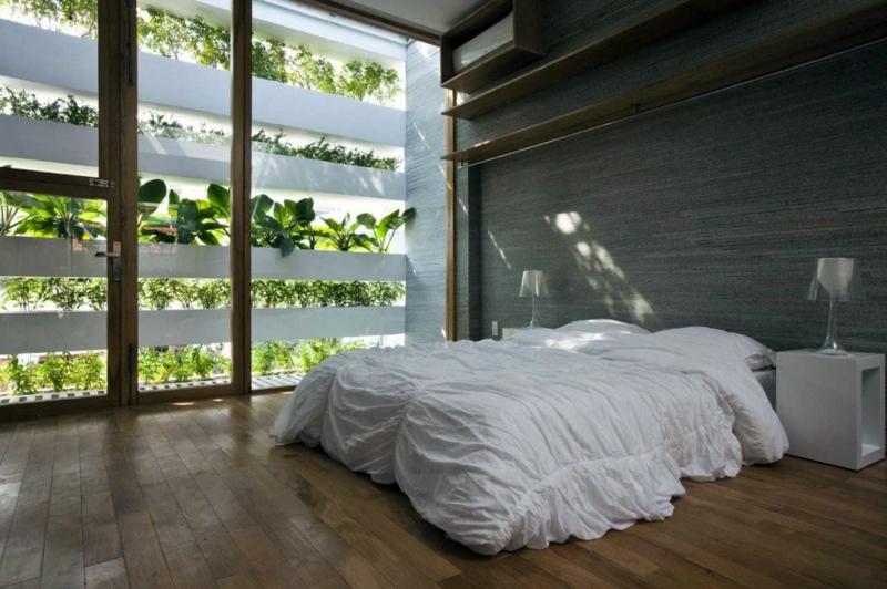 vertikaler garten minimalistisches schlafzimmer mit vertikaler begrünung