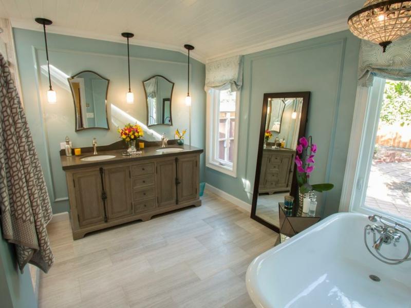 Vintage Badezimmer in Pastellfarben