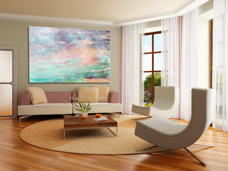 großes bild mit wasserfarben im wohnzimmer