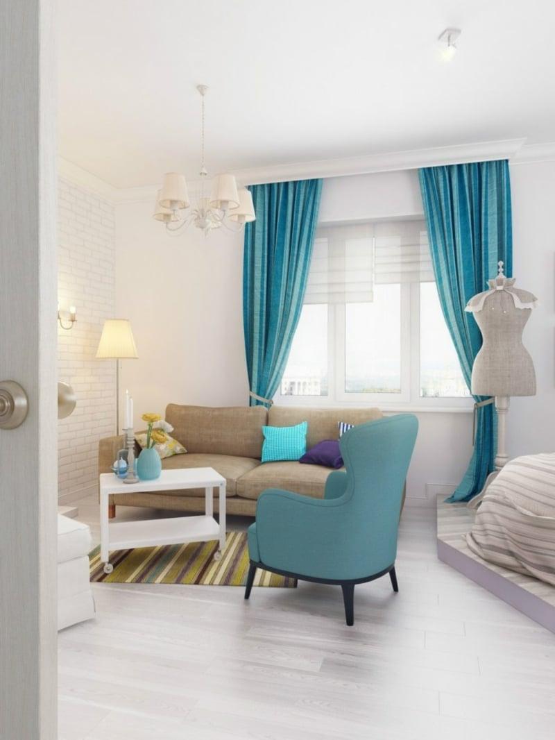 blaue Akzente Wohnzimmergestaltung