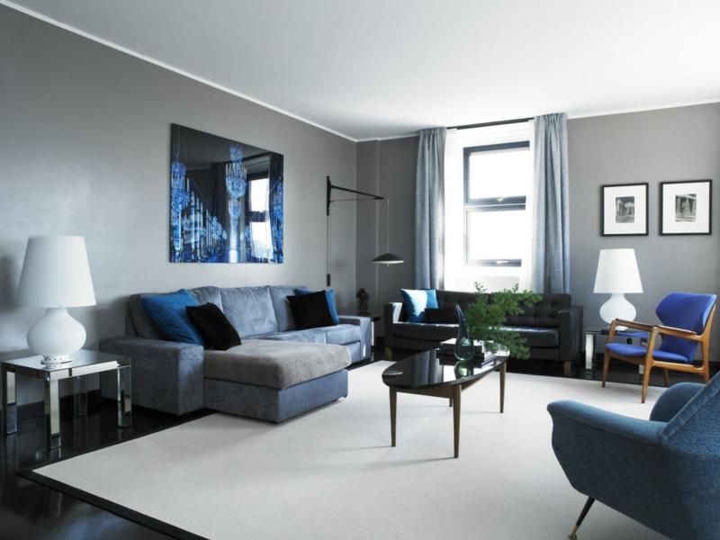 bescheiden wohnzimmer beige blau - wohnzimmer inspiration in graunuancen innendesign