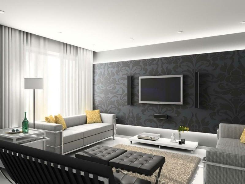 Wohnzimmer Grau Gelb Inspiration In Graunuancen Innendesign