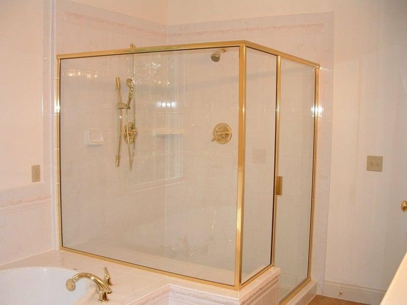 goldene glasduschkabine