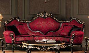 originelles Sofa im Burgunderrot