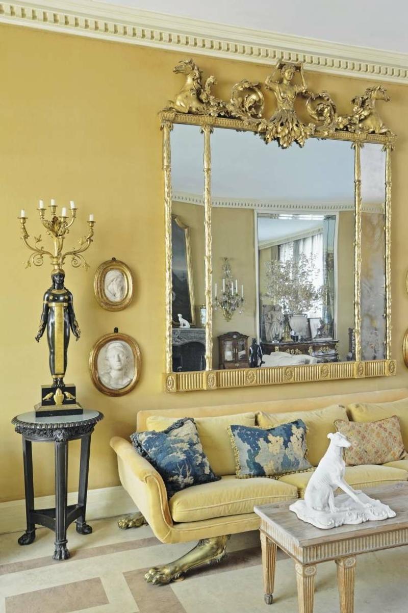 Barock Möbel Wohnzimmer im Senfgelb